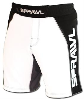 Sprawl Fusion II Stretch Series White and Black MMA Shorts